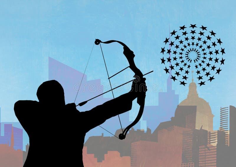 瞄准目标板的人剪影反对都市风景在背景中 皇族释放例证