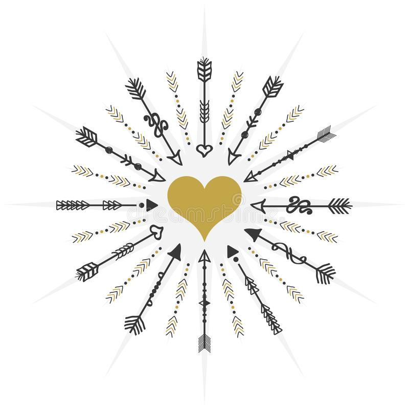 瞄准箭头和心脏象在白色背景的黑和金黄圈子 向量例证