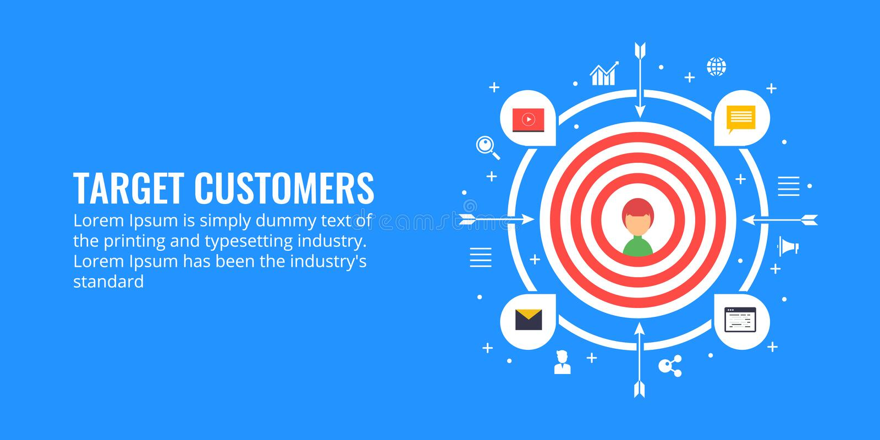 瞄准顾客,主角一代,市场细分化概念 平的设计营销例证 向量例证