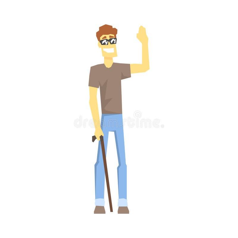 瞎的人用拐棍,有克服伤害的伤残的充分居住年轻的人活传染媒介例证 库存例证