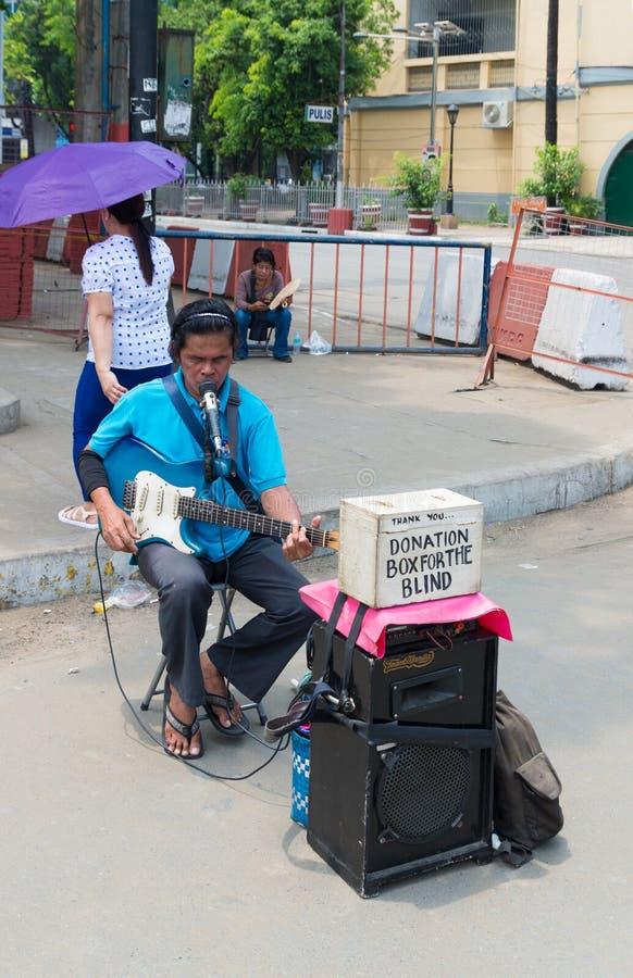 瞎的吉他演奏员 免版税库存照片