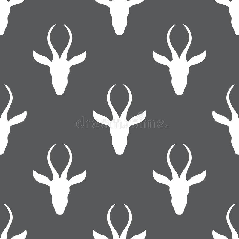 瞪羚手拉的传染媒介乱画动物例证,无缝的斯堪的纳维亚样式,与弯曲的非洲徒步旅行队羚羊 库存例证