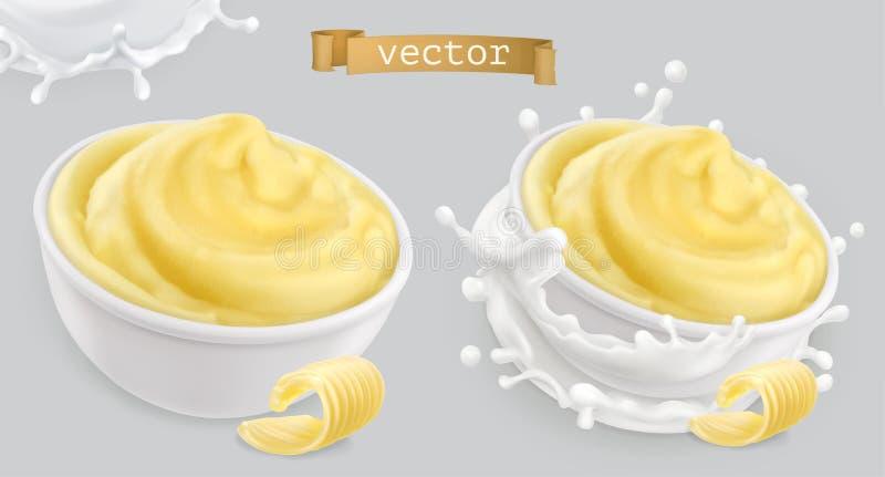 瞬时捣碎了土豆,用黄油和牛奶 纸板颜色图标图标设置了标签三向量 向量例证