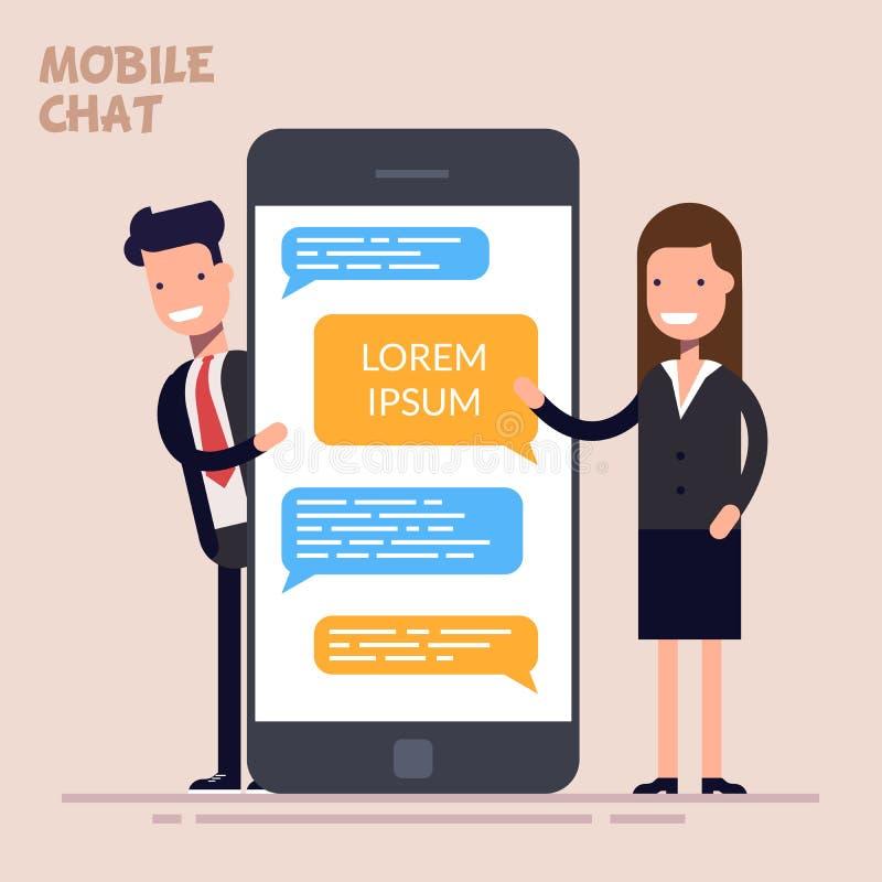 瞬时笔谈服务 信息服务 Sms信使 愉快的商人或经理和妇女在a附近站立 向量例证