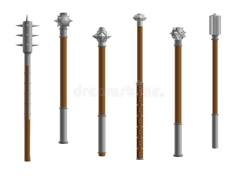 矛中世纪武器钉头锤 皇族释放例证