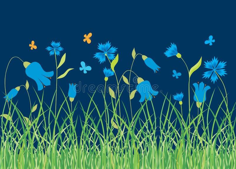 矢车菊和会开蓝色钟形花的草在夏天草甸 皇族释放例证