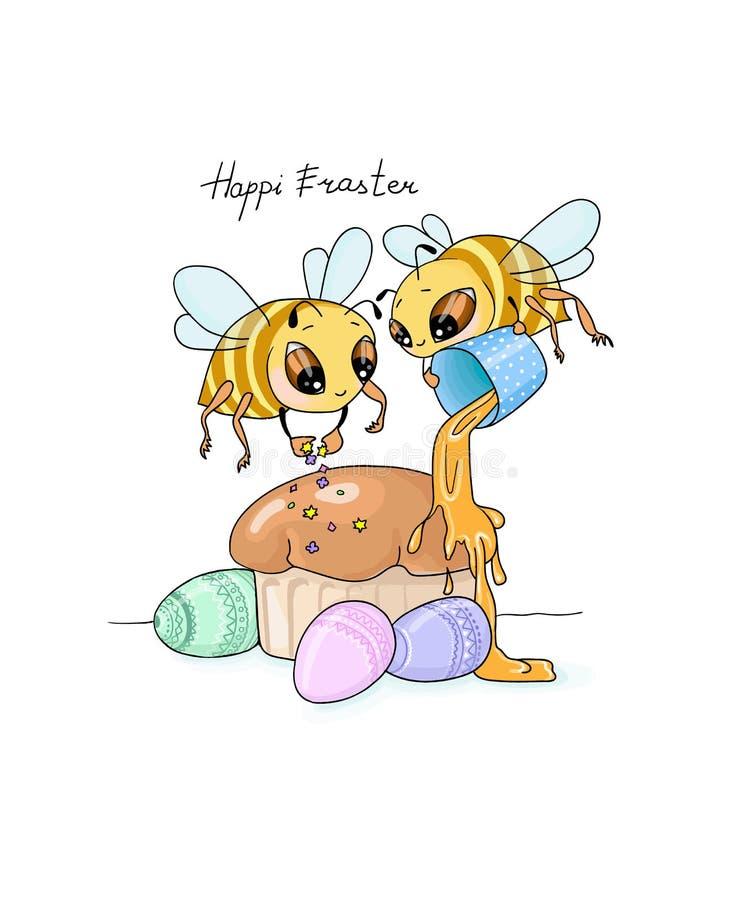 矢量图插图Hapi Easter 复活节上有两只蜜蜂装饰, 向量例证