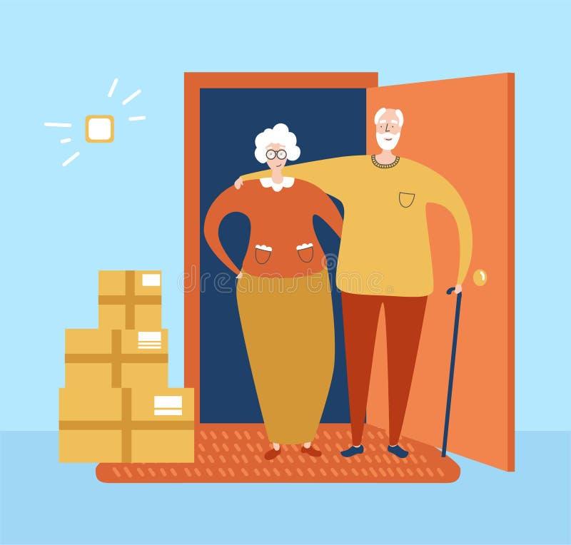 矢量图说明无接触传递 养老金领取者夫妇在公寓门口接到命令 基本RGB 库存例证
