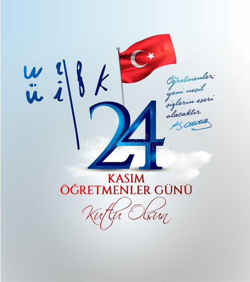矢量插图 土耳其假日,24 Kasim Ogretmenler Gunu 土耳其语翻译:11月24日,教师节 皇族释放例证
