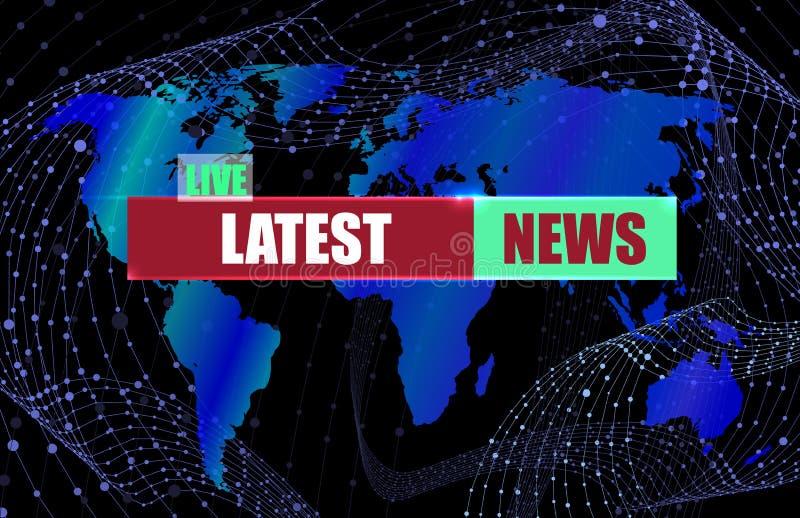 矢量最新新闻横幅背景、彩色世界地图和背景上的线框抽象旋流线 皇族释放例证