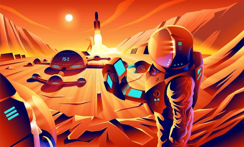 矢量艺术中的火星殖民 皇族释放例证
