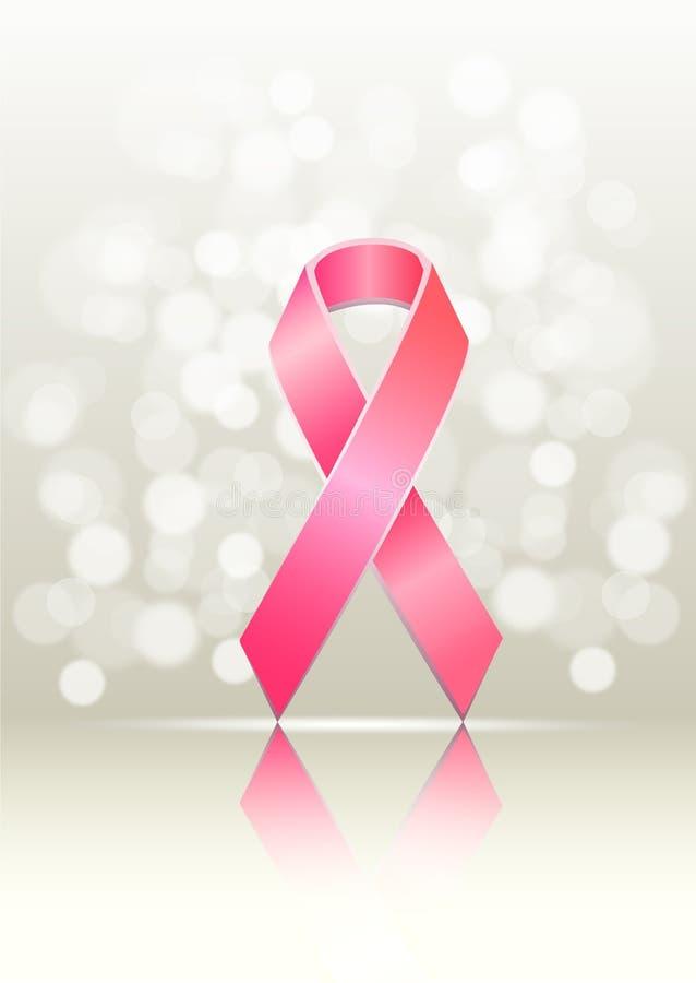 知名度乳腺癌粉红色丝带 皇族释放例证