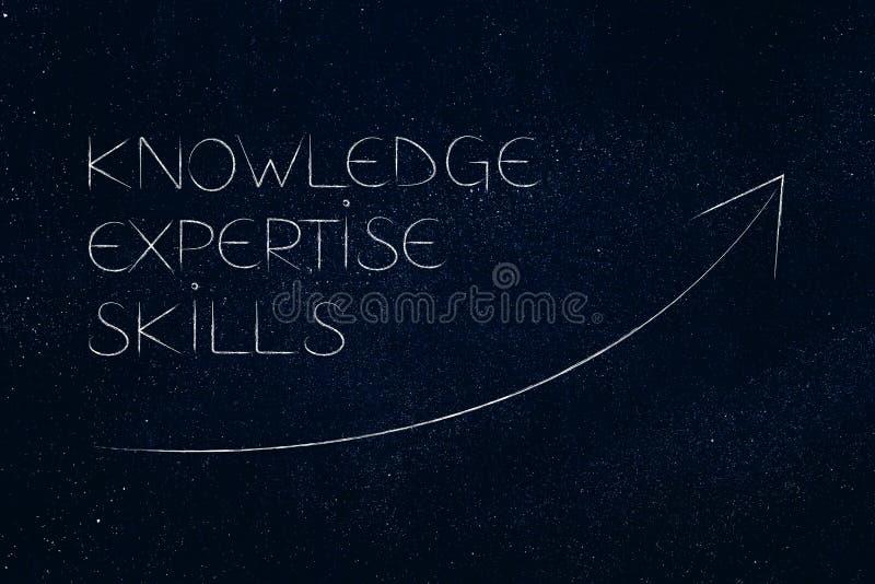 知识专门技术和技能与显示正面的stats arrw 库存例证