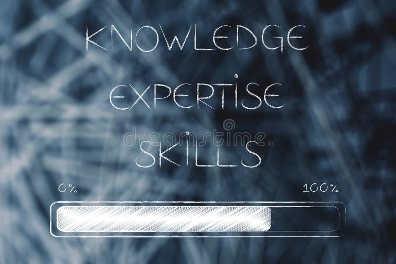 知识专门技术和技能发短信与进展酒吧装货 库存例证