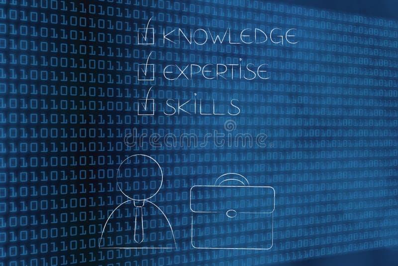知识专门技术技能斥责了与商人在o旁边 库存例证