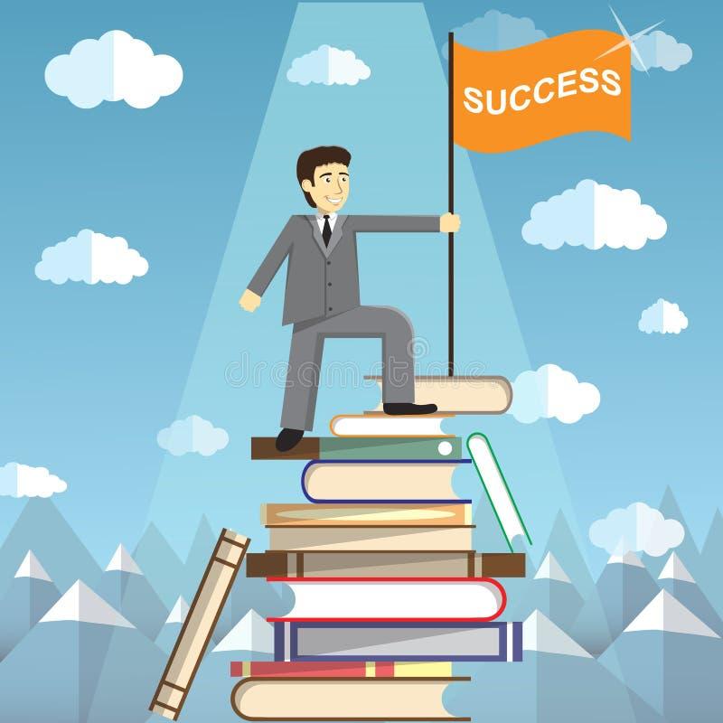 知识是道路对成功 在书顶部山的人  向量例证