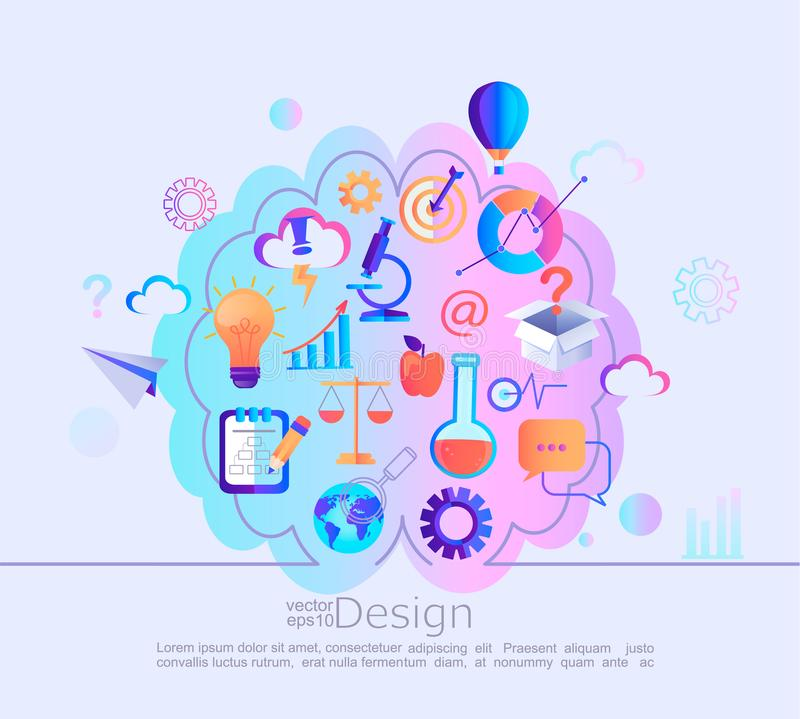 知识的创造性的概念在我们的头脑里 向量例证