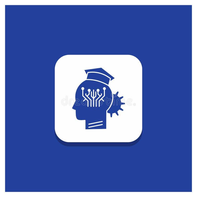 知识的,管理,分享,聪明,技术纵的沟纹象蓝色圆的按钮 向量例证