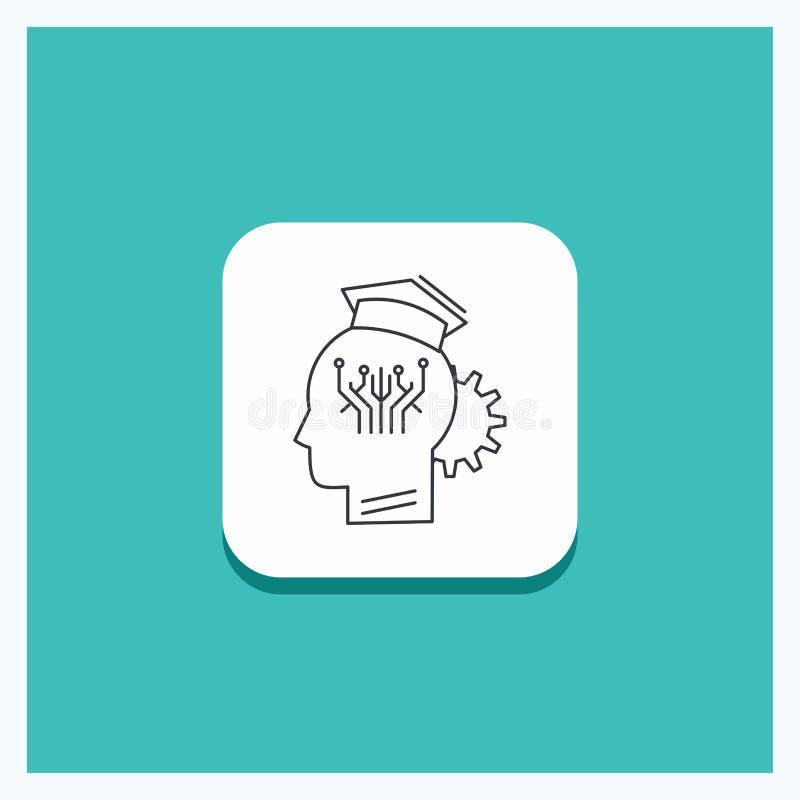 知识的,管理,分享,聪明,技术线象绿松石背景圆的按钮 向量例证