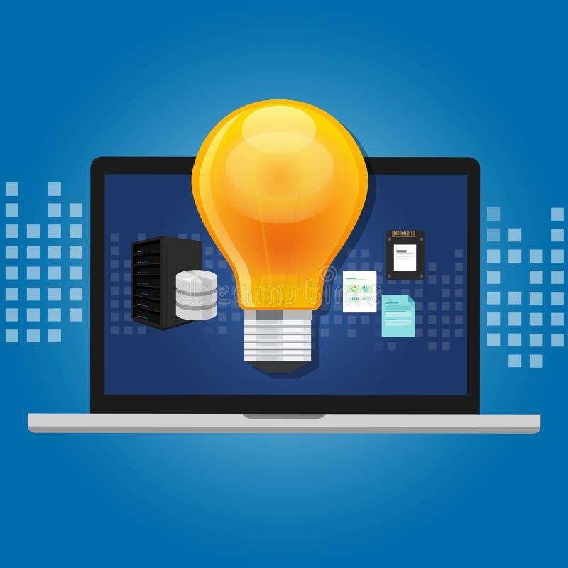 知识管理概念在计算机存储里面的想法灯 皇族释放例证