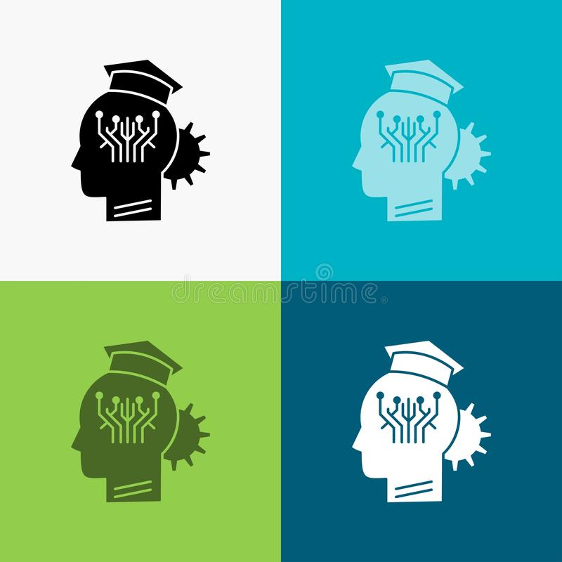 知识,管理,分享,聪明,在各种各样的背景的技术象 r EPS 库存例证