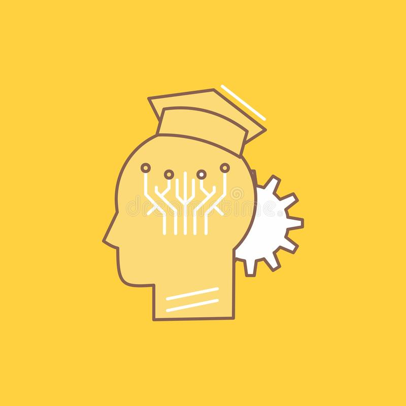 知识,管理,分享,聪明,技术平的线填装了象 在黄色背景的美丽的商标按钮UI的和 库存例证