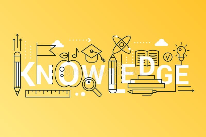 知识2019词时髦构成概念横幅 概述冲程科学、学校、大学和网上教育 向量例证