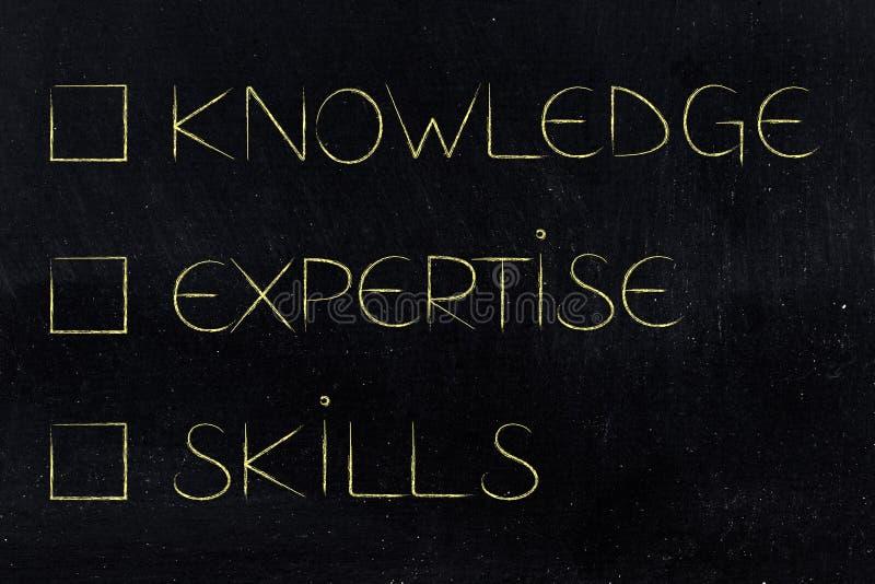 知识unticked的专门技术和技能案件 向量例证