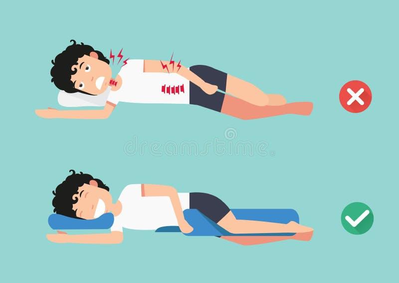 矫形枕头,舒适的睡眠和一个健康姿势的 向量例证