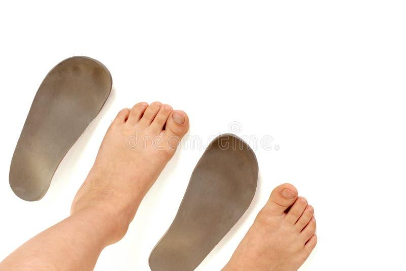 矫形皮鞋的内底和腿 图库摄影