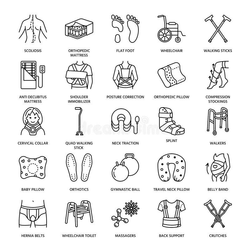 矫形,创伤修复线象 拐杖、整形术床垫枕头、子宫颈衣领,步行者和其他 向量例证