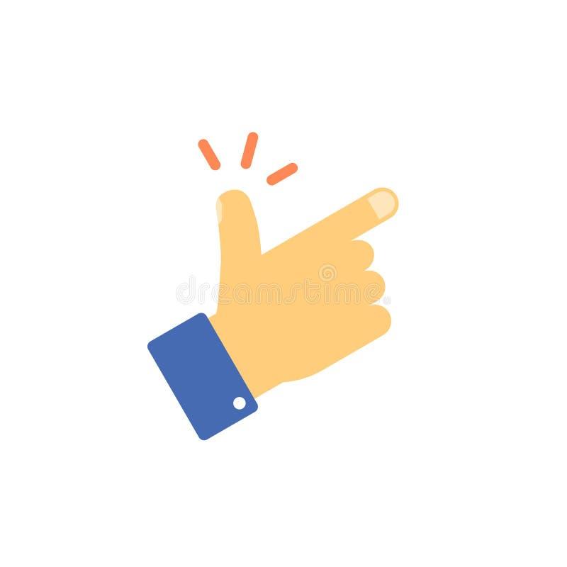 短冷期手指导航象,平的动画片攫取的拇指姿态标志隔绝在白色,手指点击信号clipart 向量例证