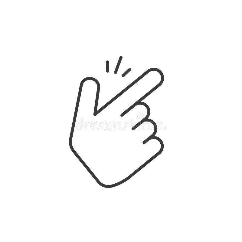 短冷期手指导航象,稀薄的线概述艺术样式攫取的拇指姿态标志隔绝在白色,手指点击 库存例证