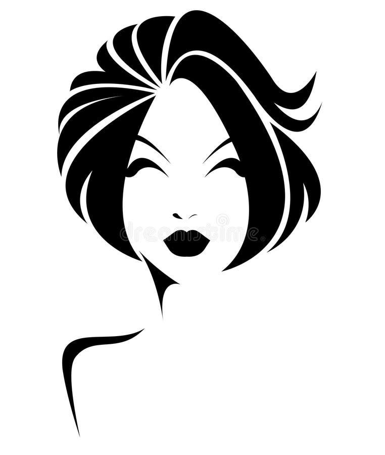 短发样式象,商标在白色背景的妇女面孔, 皇族释放例证