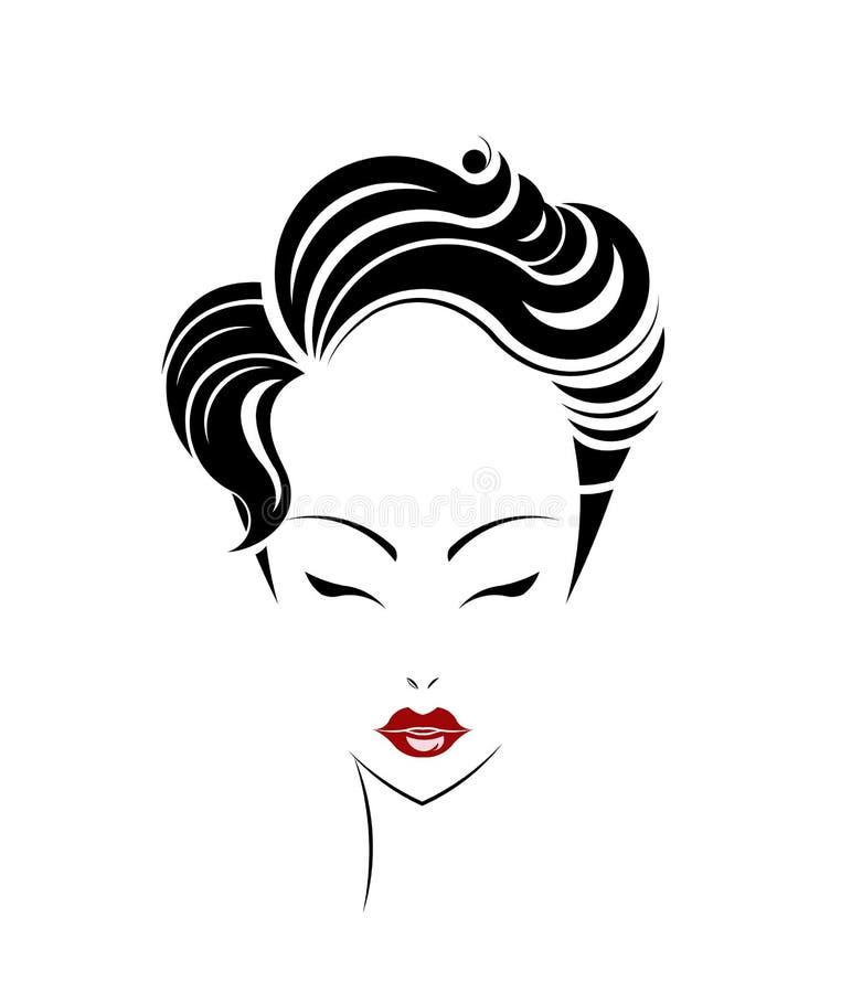 短发样式象,商标妇女面孔 向量例证