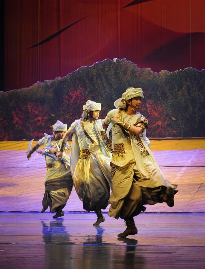 短弯刀舞蹈惠山在贺兰的芭蕾月亮 免版税库存照片