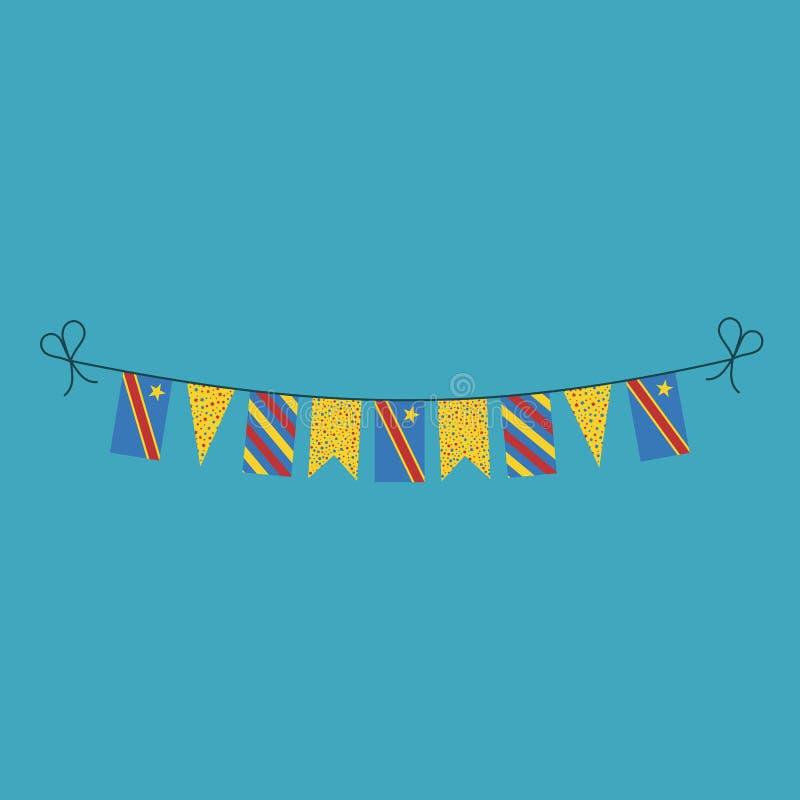 短打旗子的装饰为刚果民主共和国在平的设计的国庆节假日 库存例证
