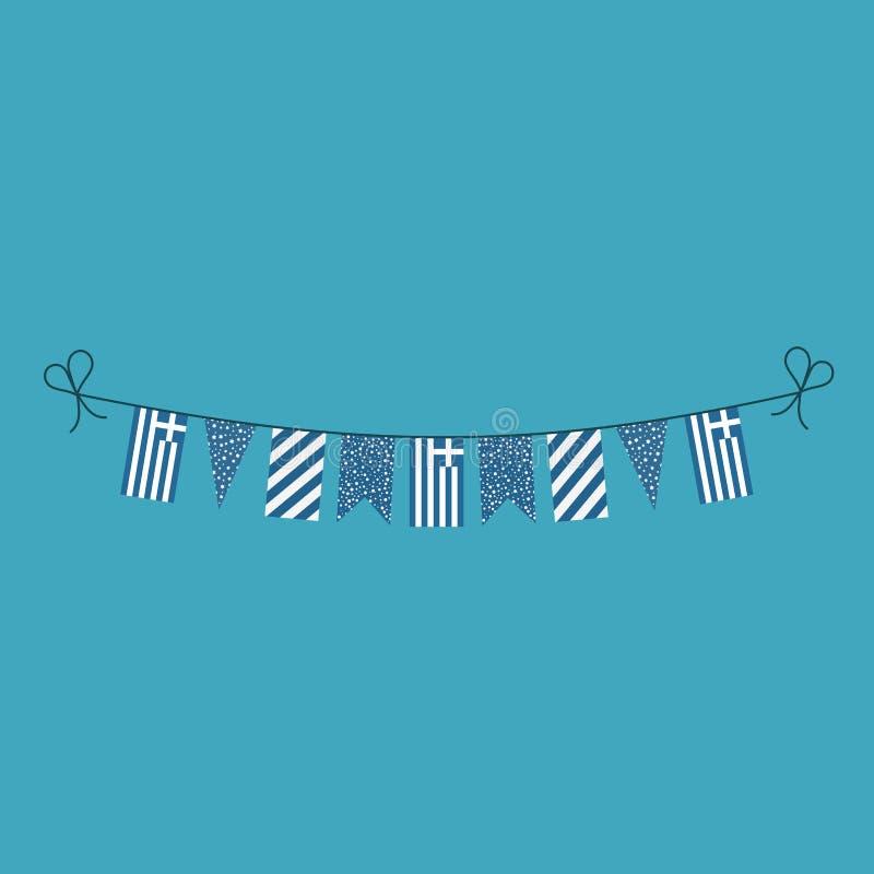 短打旗子的装饰为希腊在平的设计的国庆节假日 皇族释放例证