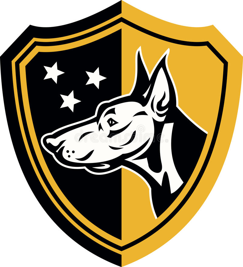 短毛猎犬狗卫兵盾星形 向量例证