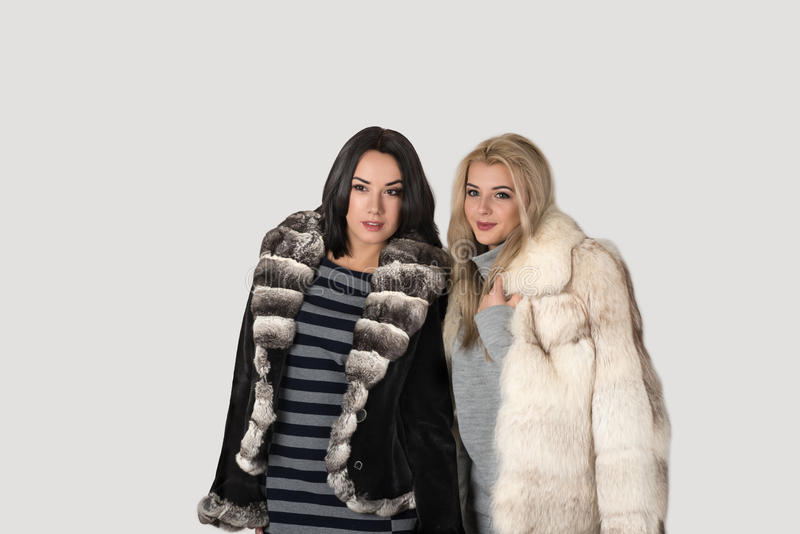 短的皮大衣步行的两个女朋友 免版税图库摄影
