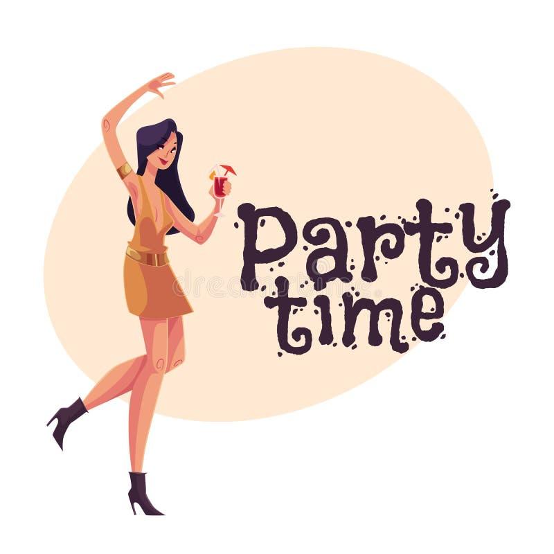 短的礼服跳舞的年轻clubber女孩与鸡尾酒杯 库存例证