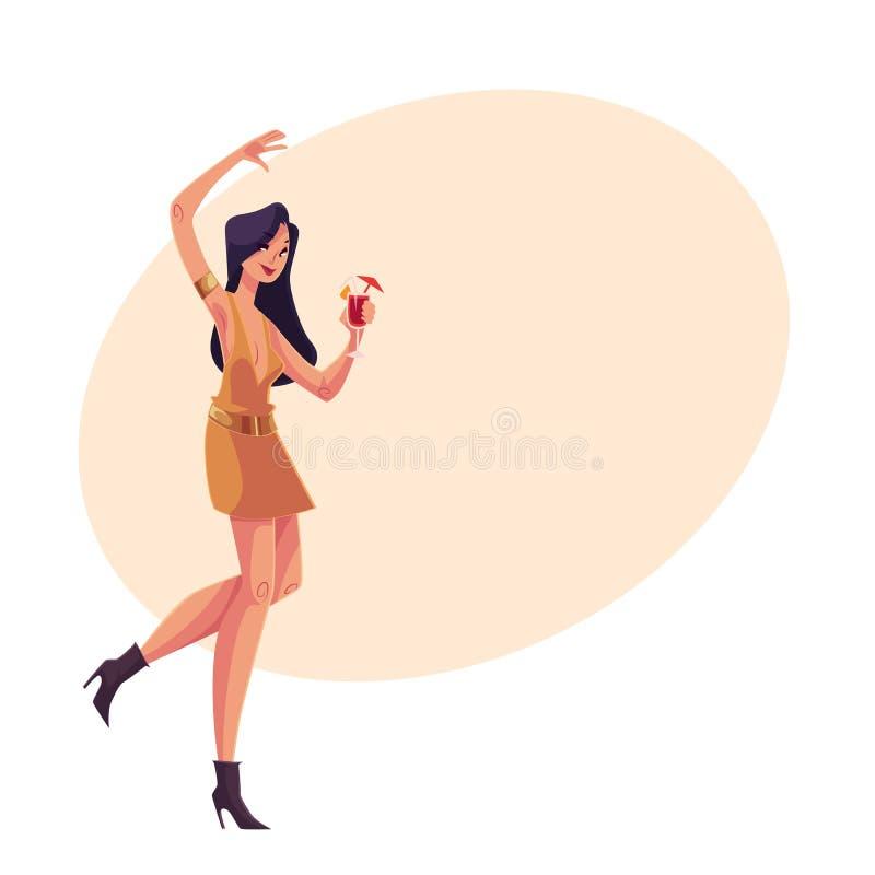 短的礼服跳舞的年轻clubber女孩与鸡尾酒杯 皇族释放例证