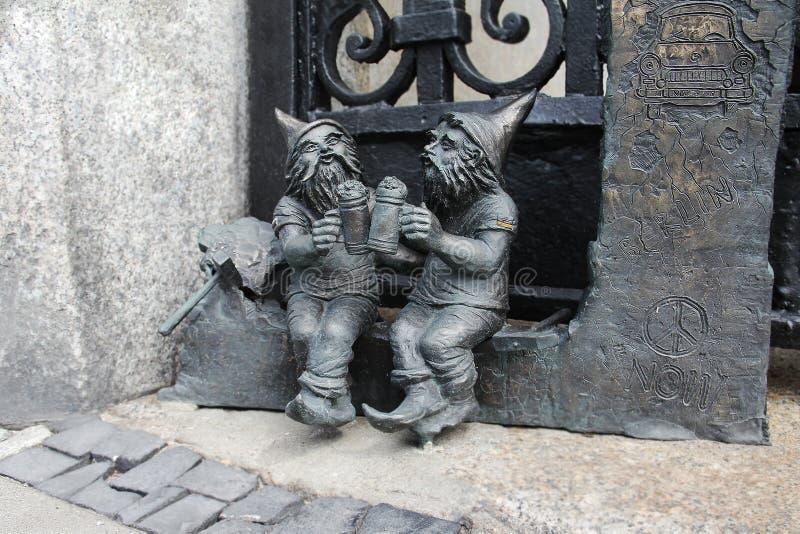 矮人在弗罗茨瓦夫,波兰 免版税库存照片