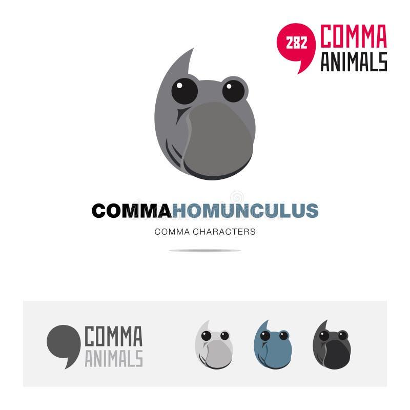 矮人loxodontus动物概念象集合和现代品牌身份商标模板和根据逗号的app标志签字 向量例证