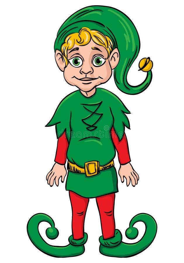 矮子。 圣诞老人的辅助工,佩带的绿色诉讼 库存例证