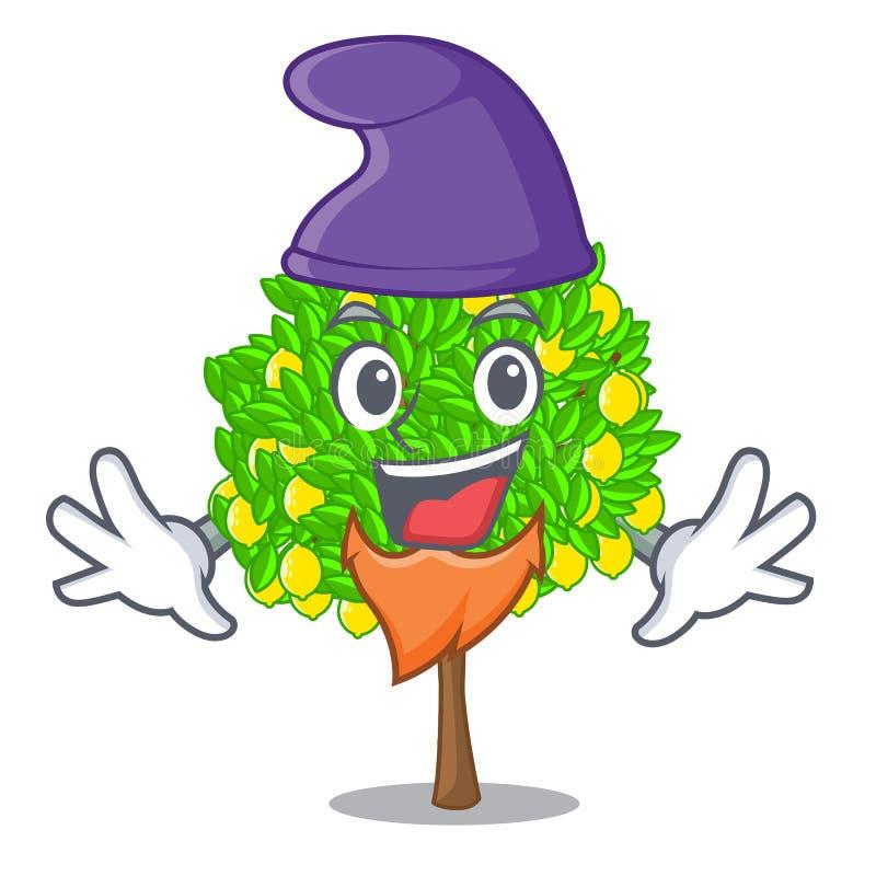 矮子在动画片形状的柠檬树 向量例证