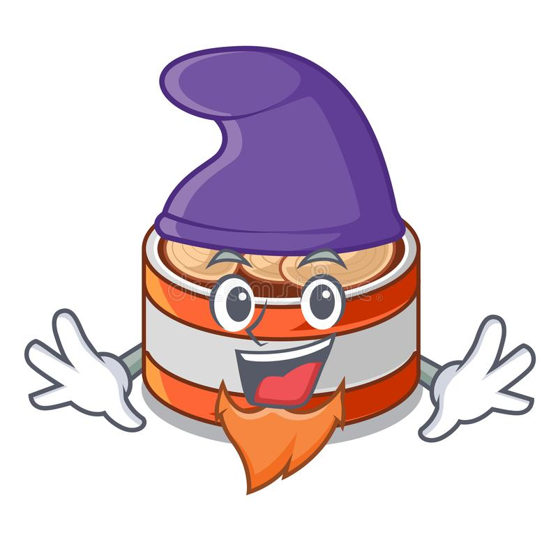 矮子装金枪鱼于罐中隔绝与在吉祥人 向量例证