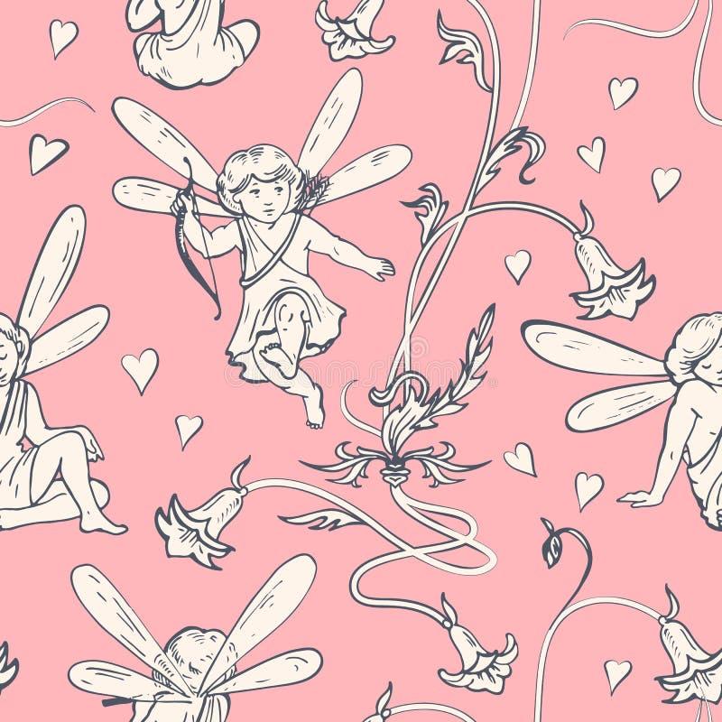 矮子 与心脏和花的天使在艺术nouveau样式 向量例证