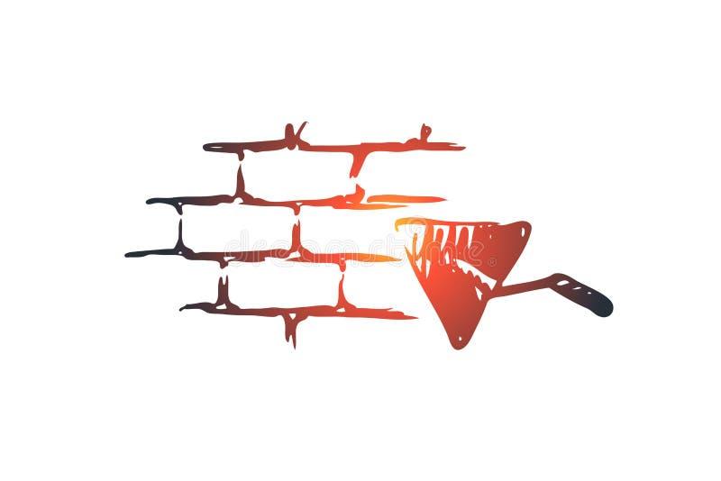 石匠,建造者,泥工,砖,墙壁概念 手拉的被隔绝的传染媒介 向量例证