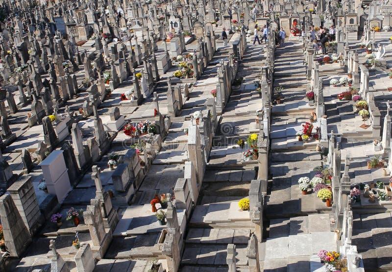 石十字架和坟墓在mallorcaÂ的公墓 免版税库存照片